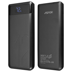 Aspor® A349 Power BANK LCD Digital Polymer 12000mAh Dual Output IQ 2A Black
