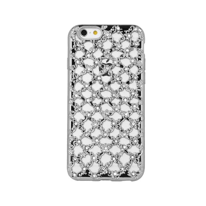 ΘΗΚΗ Flower Diamond TPU for Sam J5 2016 J510 silver