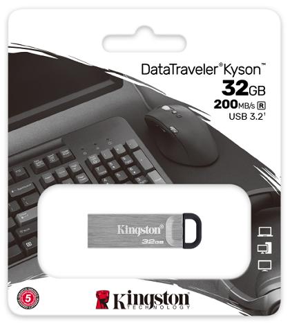 KINGSTON DATA TRAVELER KYSON 32GB 200MB/s USB 3.2 SILVER