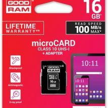 GOODRAM MICROSD 16GB CLASS10 UHS-1 +ADAPTER